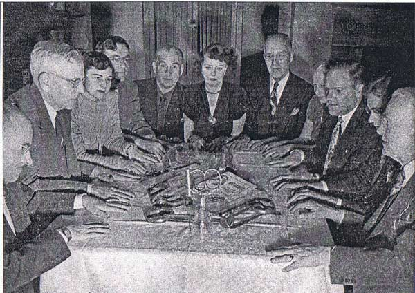 Sid Radner (third from right) and Helen Radner (third from left) with Walter Gibson (second from left) at Gibson's NY apartment for the 1948 Official Houdini Seance.